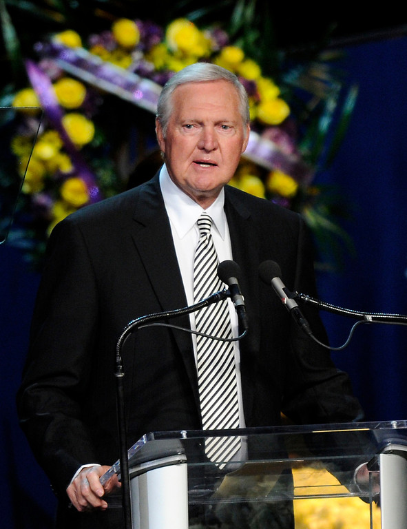 . Jerry West speaks at the Jerry Buss Memorial Service at Nokia Theatre, Thursday, February 21, 2013. (Michael Owen Baker/Staff Photographer)