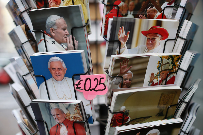 . Postcards featuring Pope Benedict XVI are sold on February 24, 2013 in Vatican City, Vatican. The Pontiff will hold his last weekly public audience on February 27, 2013 before he retires the following day. Pope Benedict XVI has been the leader of the Catholic Church for eight years and is the first Pope to retire since 1415. He cites ailing health as his reason for retirement and will spend the rest of his life in solitude away from public engagements.  (Photo by Oli Scarff/Getty Images)