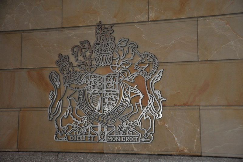 """God And My Right"" - The Royal Coat Of Arms on the front of the British Embassy, Berlin."
