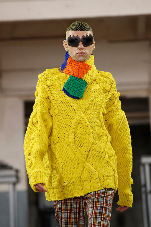 . A model wears a creation for Walter van Beirendonck men\'s Fall-Winter 2018/2019 fashion collection presented in Paris, Wednesday, Jan.17, 2018. (AP Photo/Christophe Ena)