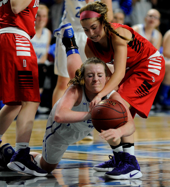 Bangor, ME — February 24, 2017 — Stearns 41 and Dexter's 15 during their class C girls semi final game at the Cross Center in Bangor Friday night.