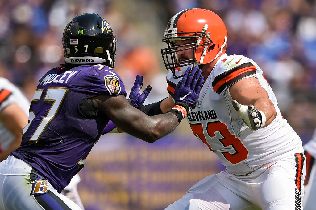 . Baltimore Ravens inside linebacker C.J. Mosley (57) and Cleveland Browns offensive tackle Joe Thomas (73) face-off during the first half of an NFL football game in Baltimore, Sunday, Sept. 17, 2017. (AP Photo/Nick Wass)
