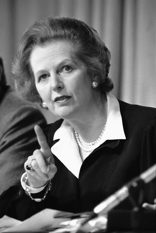 """. In this May 31, 1983 file photo, Britain\'s Prime Minister Margaret Thatcher raises her finger as she makes a point during a Conservative Party news conference in London. Ex-spokesman Tim Bell says that Thatcher has died. She was 87. Bell said the woman known to friends and foes as \""""the Iron Lady\"""" passed away Monday morning, April 8, 2013. (AP Photo/File)"""