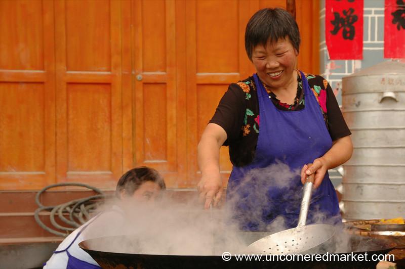 Chinese Woman Cooking - Guizhou Province, China