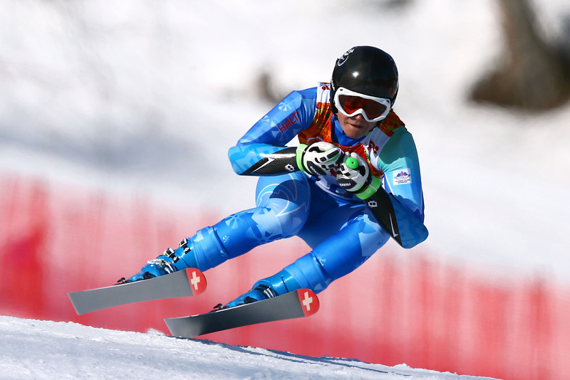 . Tina Maze of Slovenia in action during the Alpine Skiing Women\'s Super-G on day 8 of the Sochi 2014 Winter Olympics at Rosa Khutor Alpine Center on February 15, 2014 in Sochi, Russia.  (Photo by Doug Pensinger/Getty Images)