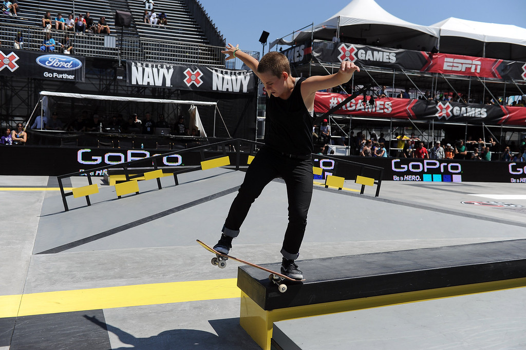 . Lacey Baker competes during the  X Games Los Angeles Women\'s Skateboard Street Final at LA Live Thursday, August 1, 2013. (Hans Gutknecht/Los Angeles Daily News)