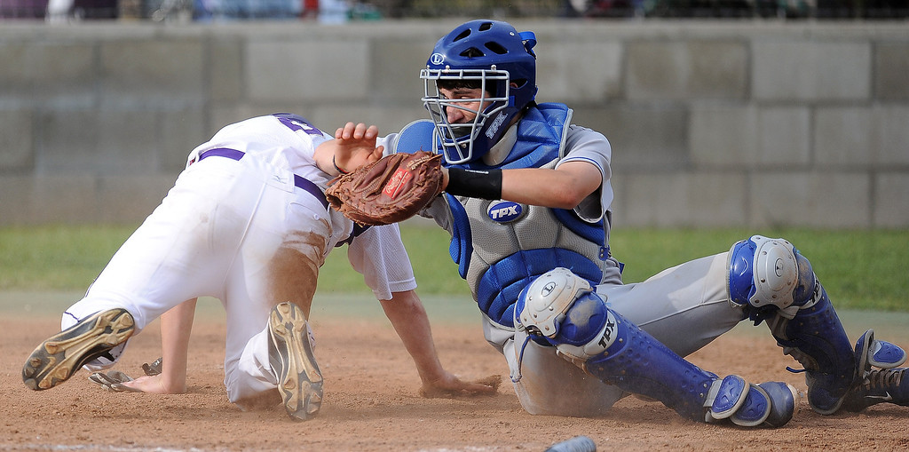 . Diamond Bar\'s Jacob Cooke scores past Los Altos catcher Joey Morreale in the fifth inning of a prep baseball game at Diamond Bar High School on Wednesday, March 20, 2013 in Diamond Bar, Calif. Diamond Bar won 9-1. (Keith Birmingham Pasadena Star-News)