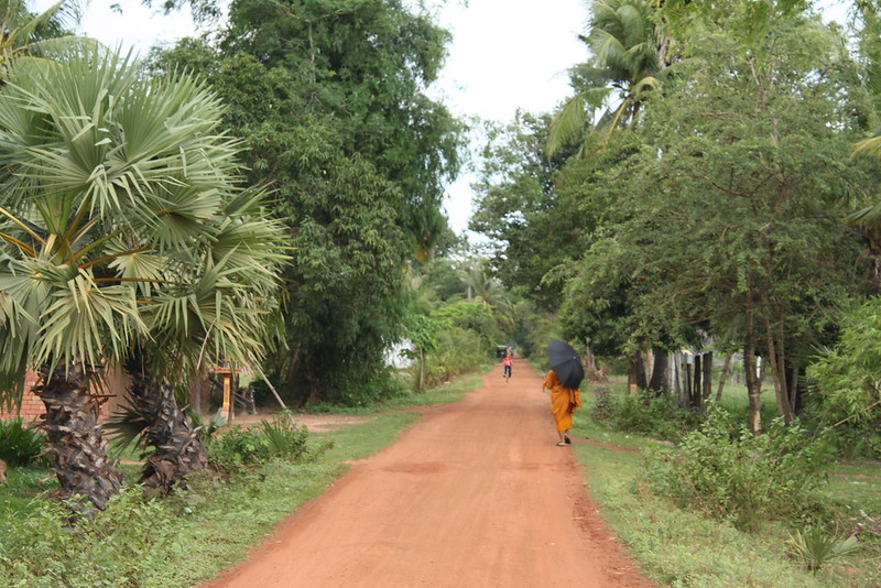 A monk walking somewhere