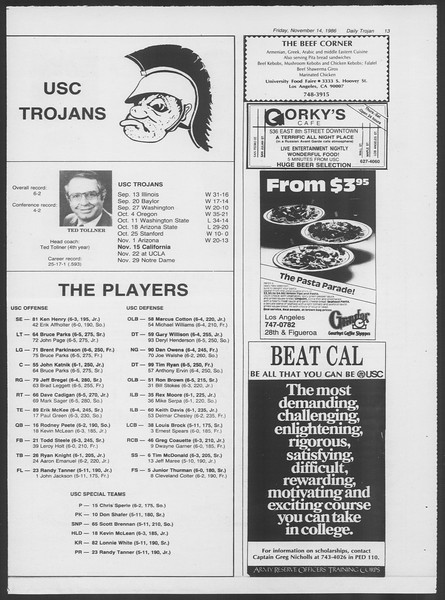 Daily Trojan, Vol. 102, No. 53, November 14, 1986