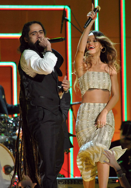 . Damian Marley, left, and Rihanna perform at the 55th annual Grammy Awards on Sunday, Feb. 10, 2013, in Los Angeles. (Photo by John Shearer/Invision/AP)