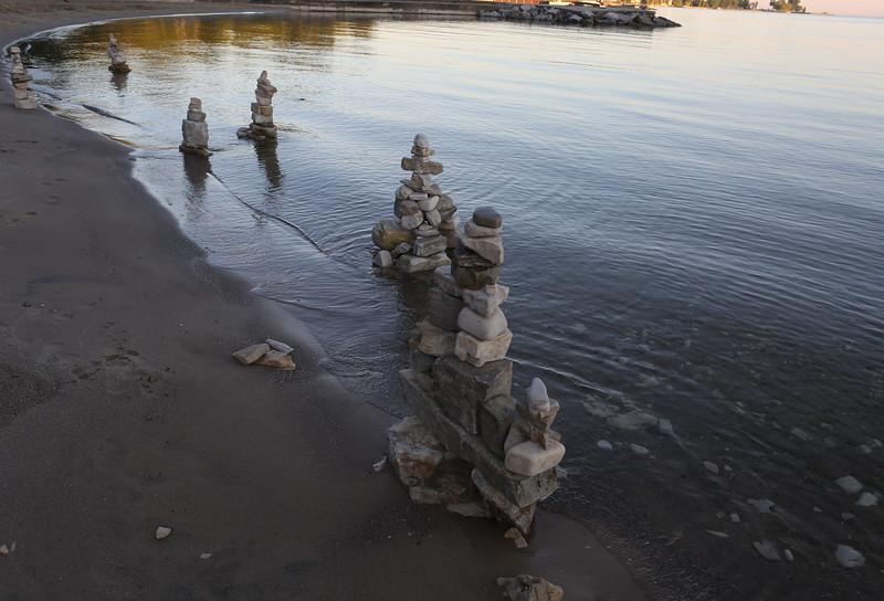 Cairns along the shore.