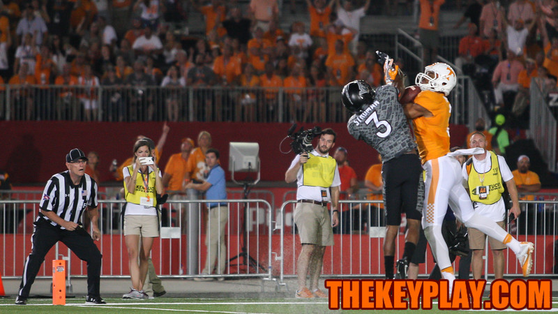 Greg Stroman (3) is unable to stop Tennessee's Josh Malone for their second touchdown pass of the game. (Mark Umansky/TheKeyPlay.com)