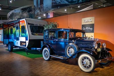 1930 Ford Model A Tudor Sedan and No Boundaries Travel Trailer