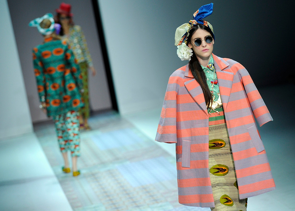 . A model wears a creation for Stella Jean\'s women\'s Spring-Summer 2014 collection, part of the Milan Fashion Week, unveiled in Milan, Italy, Saturday, Sept. 21, 2013. (AP Photo/Giuseppe Aresu)