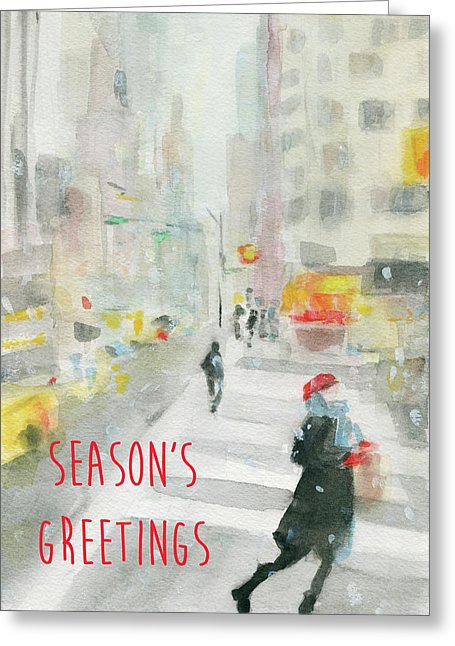 Winter 57th St. New York City Holiday Greeting Card by artist Beverly Brown