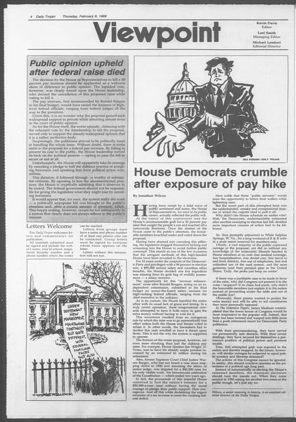 Daily Trojan, Vol. 108, No. 20, February 09, 1989