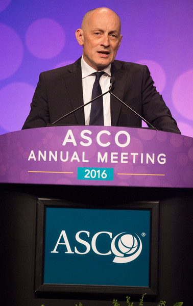 Antonio Palumbo, MD, presenting abstract LBA4, Phase III randomized controlled study of daratumumab, bortezomib, and dexamethasone (DVd) versus bortezomib and dexamethasone (Vd) in patients (pts) with relapsed or refractory multiple myeloma (RRMM): CASTOR study during Plenary Session including Science of Oncology Award and Lecture