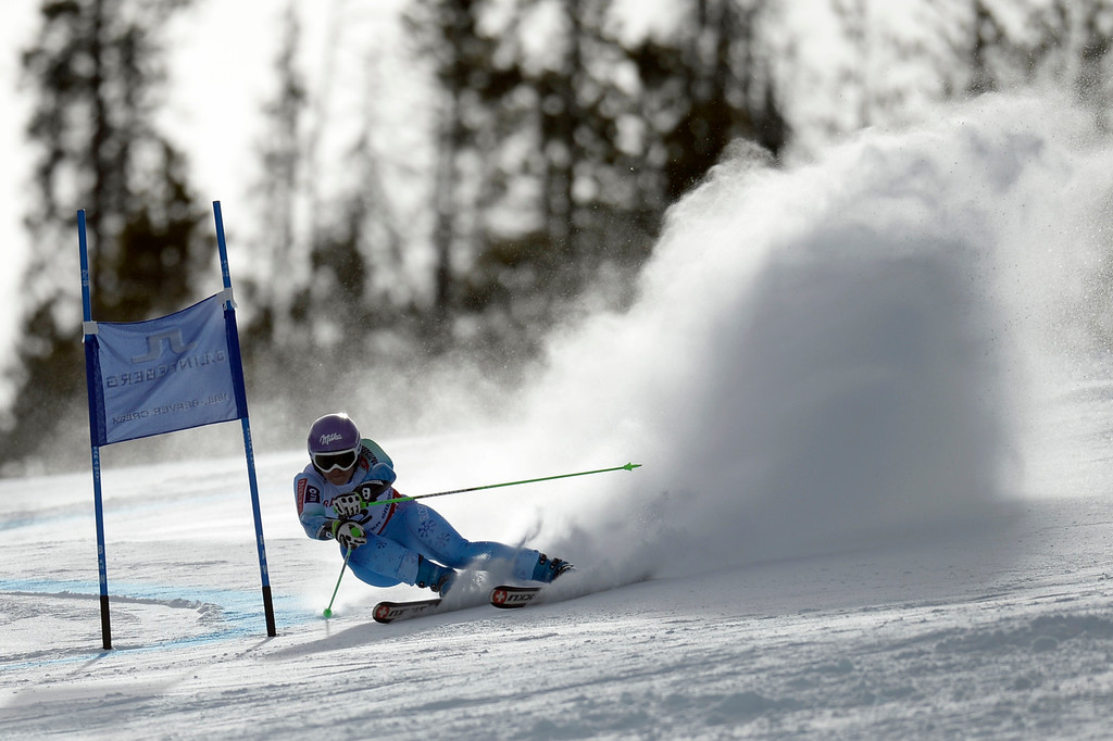 . BEAVER CREEK, CO - FEBRUARY 12: Tina Maze of Slovenia competes during the ladies\' giant slalom. FIS Alpine World Ski Championships 2015 on Thursday, February 12, 2015. (Photo by AAron Ontiveroz/The Denver Post)
