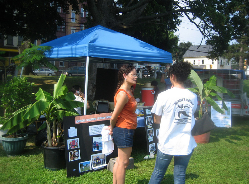 I started at Springdale Park, visiting the Holyoke Food and Fitness Policy Council booth at the Festival de la Familia.   Note Main Street (urban environment) in background.