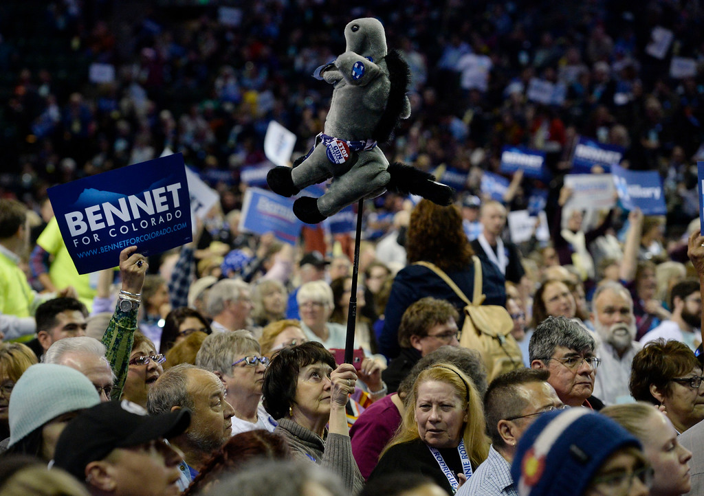 . A supporter holds up a representative donkey at theColorado Democratic State Convention at the Budweiser Events Center April 17, 2016. (Photo by Andy Cross/The Denver Post)
