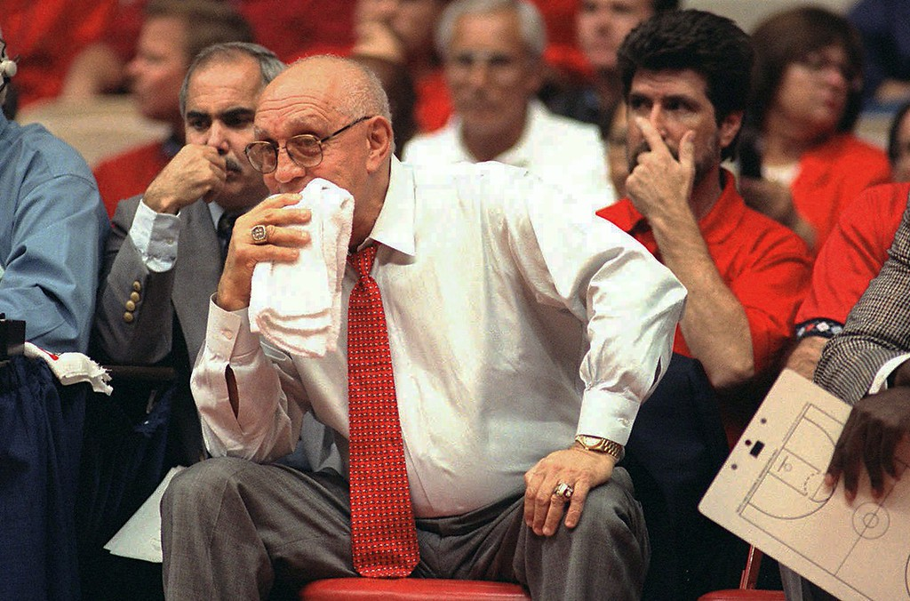 . In this Nov. 15, 1995, file photo, Fresno State coach Jerry Tarkanian watches his team play Weber State during the preseason NIT in Fresno, Calif. (AP Photo/Thor Swift, File)