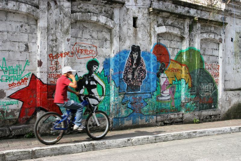 Biker near graffiti