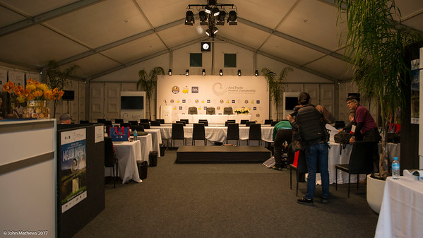 The media room set up in a marquee tent on teh tennis court at Royal Wellington Golf Club in preparation to host the Asia-Pacific Amateur Championship tournament 2017 held in Heretaunga, Upper Hutt, New Zealand from 26 - 29 October 2017. Copyright John Mathews 2017.   www.megasportmedia.co.nz