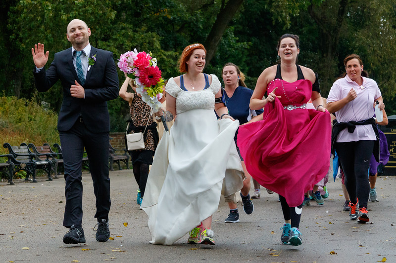 Participants, wedding guests and volunteers in the 32nd Blackpool parkrun.