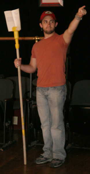 """The cast of """"Exit the King"""" rehearses in the Millennium Playhouse Friday night."""