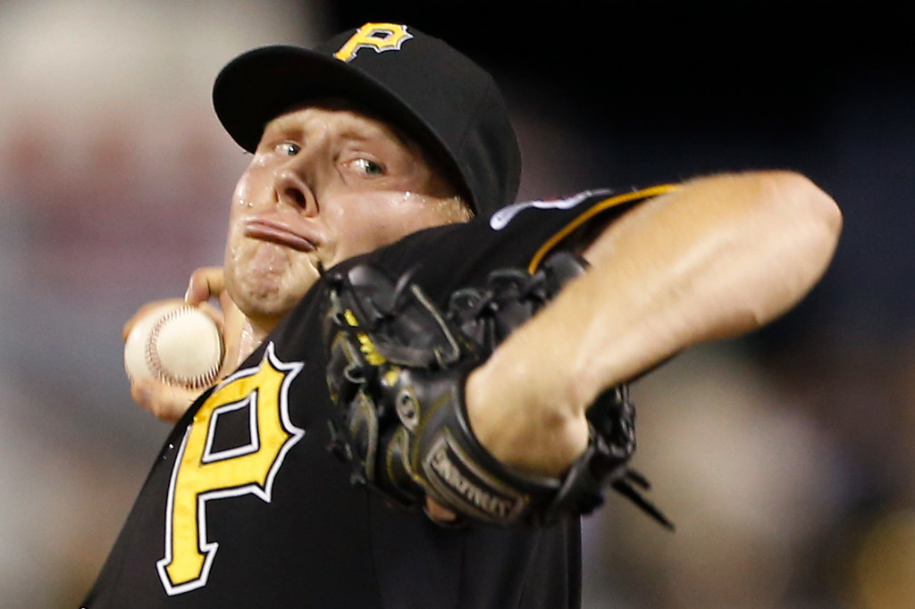 . Pittsburgh Pirates relief pitcher Mark Melancon throws against the Detroit Tigers in the ninth inning of the baseball game on Tuesday, Aug. 12, 2014, in Pittsburgh. The Pirates won 4-2. (AP Photo/Keith Srakocic)