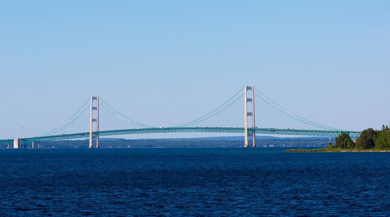The 26,372-foot Mackinac Bridge dominates every view in this area.