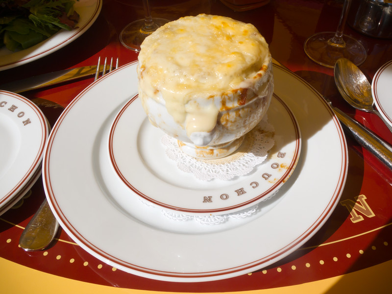 Pete and I both start with Bouchon's take on French Onion Soup