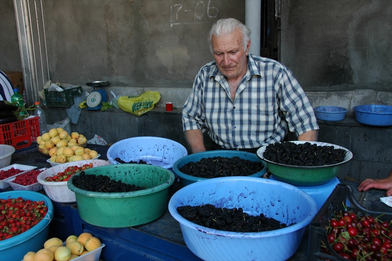 Man Selling Mulberries - Yerevan, Armenia
