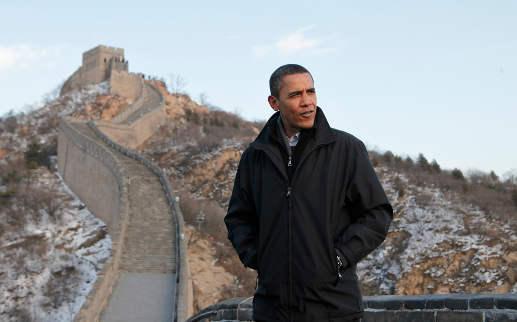 . U.S. President Barack Obama tours the Great Wall in Badaling, China, Wednesday, Nov. 18, 2009. (AP Photo/Charles Dharapak)