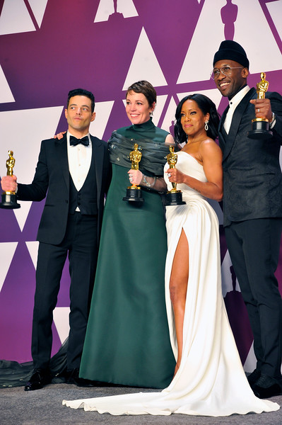 """ACADEMY AWARDS 91ST OSCARS PRESSROOM HELD AT THE LOWES HOTEL IN HOLLYWOOD CALIFORNIA ON FEBRUARY 24,2019. BEST ACTOR RAMI MALEK """"BOHEMIAN RHAPSODY"""" BEST ACTRESS OLIVIA COLEMAN """"THE FAVOURITE""""  MAHERSHALA ALI & REGINA KING BEST SUPPORTING ACTOR """"GREEN BOOK"""" & REGINA KING BESYT SUPPORTING ACTOR """"IF BEALE STREET COULD TALK"""" PHOTOGRAPHER VALERIE GOODLOE"""
