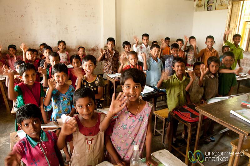 Young Students Waiving to Us - Nalbata, Bangladesh