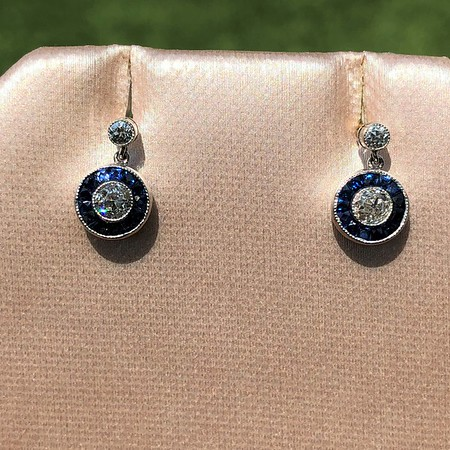 1.00ctw (Est) Old Mine Cut Diamond and Sapphire Target Dangle Earrings