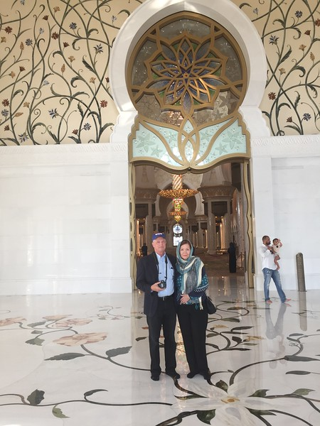 Karen and Dick at the Seikh Zayed Mosque in Abu Dhabi - Bridget St. Clair