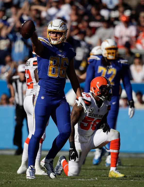 . Los Angeles Chargers tight end Hunter Henry celebrates after a catch against the Cleveland Browns during the first half of an NFL football game Sunday, Dec. 3, 2017, in Carson, Calif. (AP Photo/Jae C. Hong)