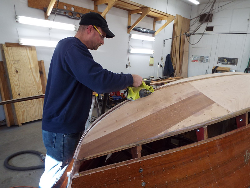Getting the keel at the bow ready for the cap.