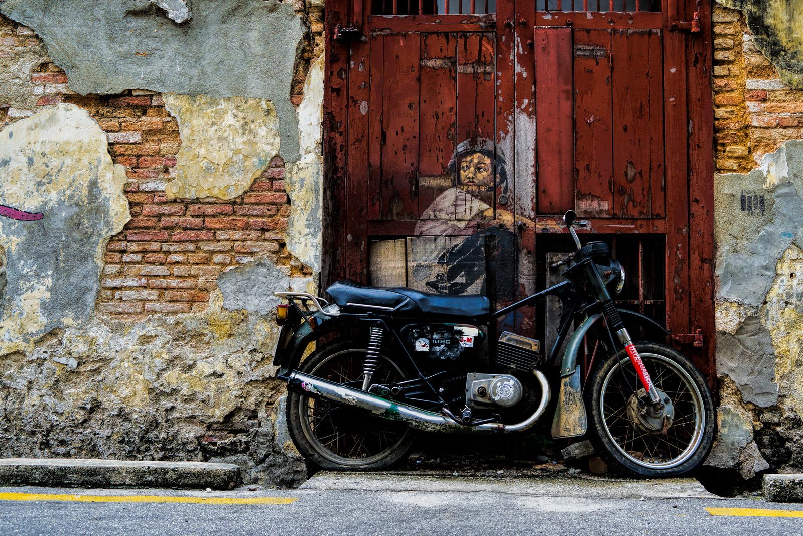 Penang Street Art - Boy on Motorbike