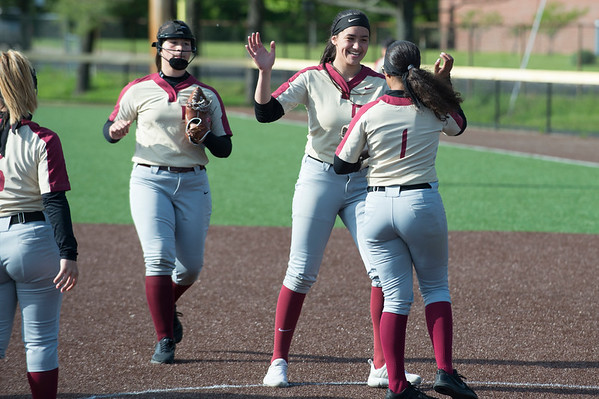 05/15/19 Wesley Bunnell | Staff New Britain softball defeated Simsbury 4-2 at Chesley Park on Wednesday afternoon. Val Hernandez (7) and Joseleen Rivera (1).