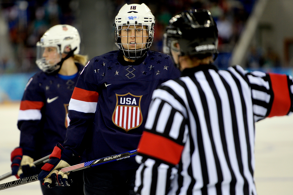 . U.S.A. player Lyndsey Fry looks at the ref as she makes a call during the third period of the United States\' 3-1 win against Finland. Sochi 2014 Winter Olympics on Saturday, February 8, 2014. (Photo by AAron Ontiveroz/The Denver Post)