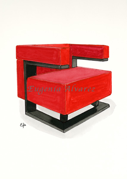F-51 armchair. Painting Art Print Furniture Art Print Fine Art Print from Watercolor Painting Bauhaus  Art Print Walter Gropius Watercolor Wall Art