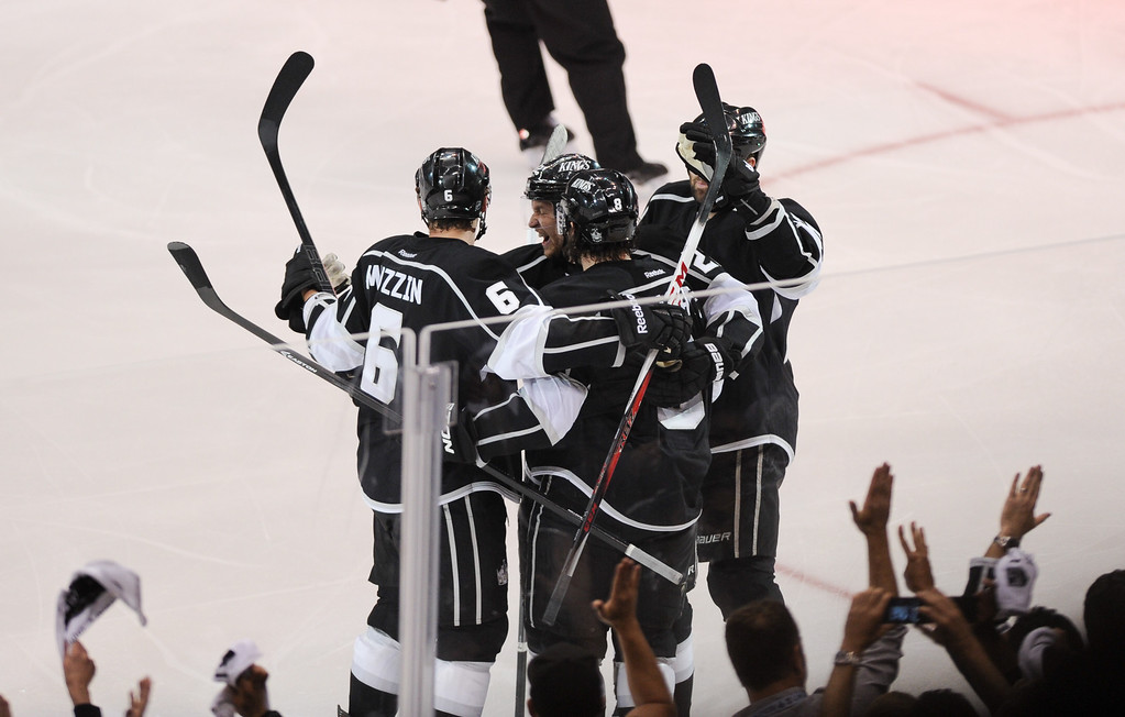 . The Kings celebrate Drew Doughty\'s second-period goal against the Sharks, Thursday, May 16, 2013, at Staples Center. (Michael Owen Baker/Staff Photographer)