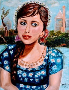"""An Egyptian Woman"" (oil) by Naureen Ali"