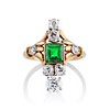 1.01ctw Victorian Emerald (syn) and Diamond Dinner Ring 0