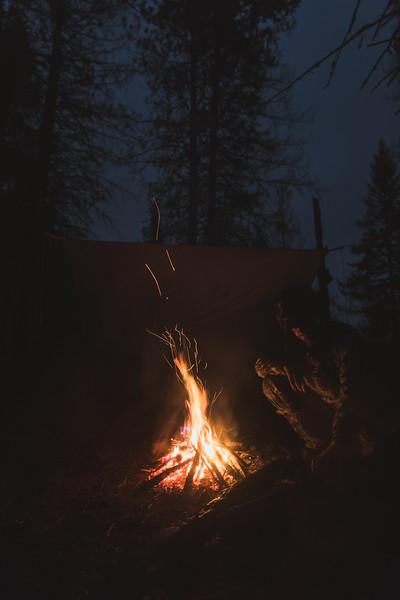 Austin Heinrich (no IG) fireside in Idaho's Wilderness. November 2017