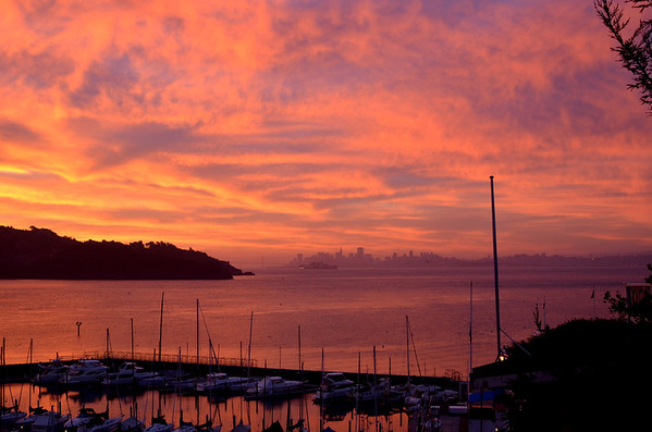 Sunrise over Tiburon, Angel Island and the city