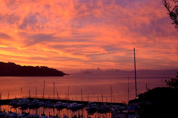 Sunrise over Tiburon, Angel Island and the city